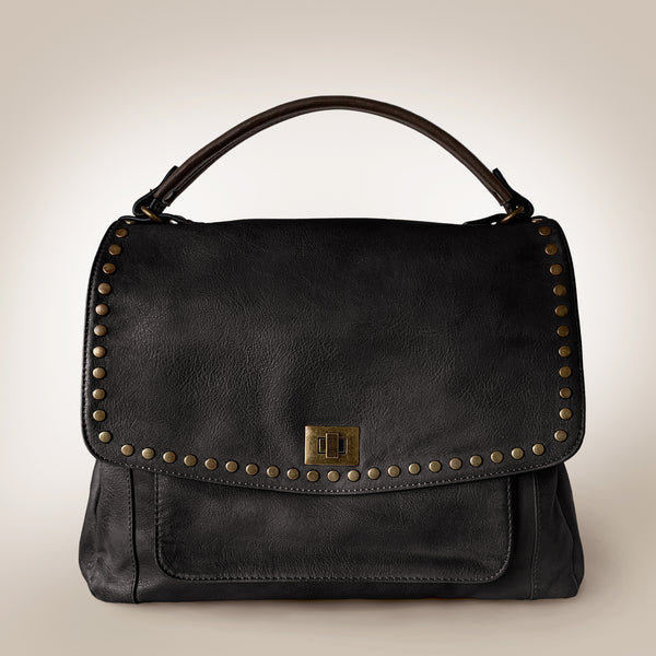 Stud Fold Slouchy Leather Bag