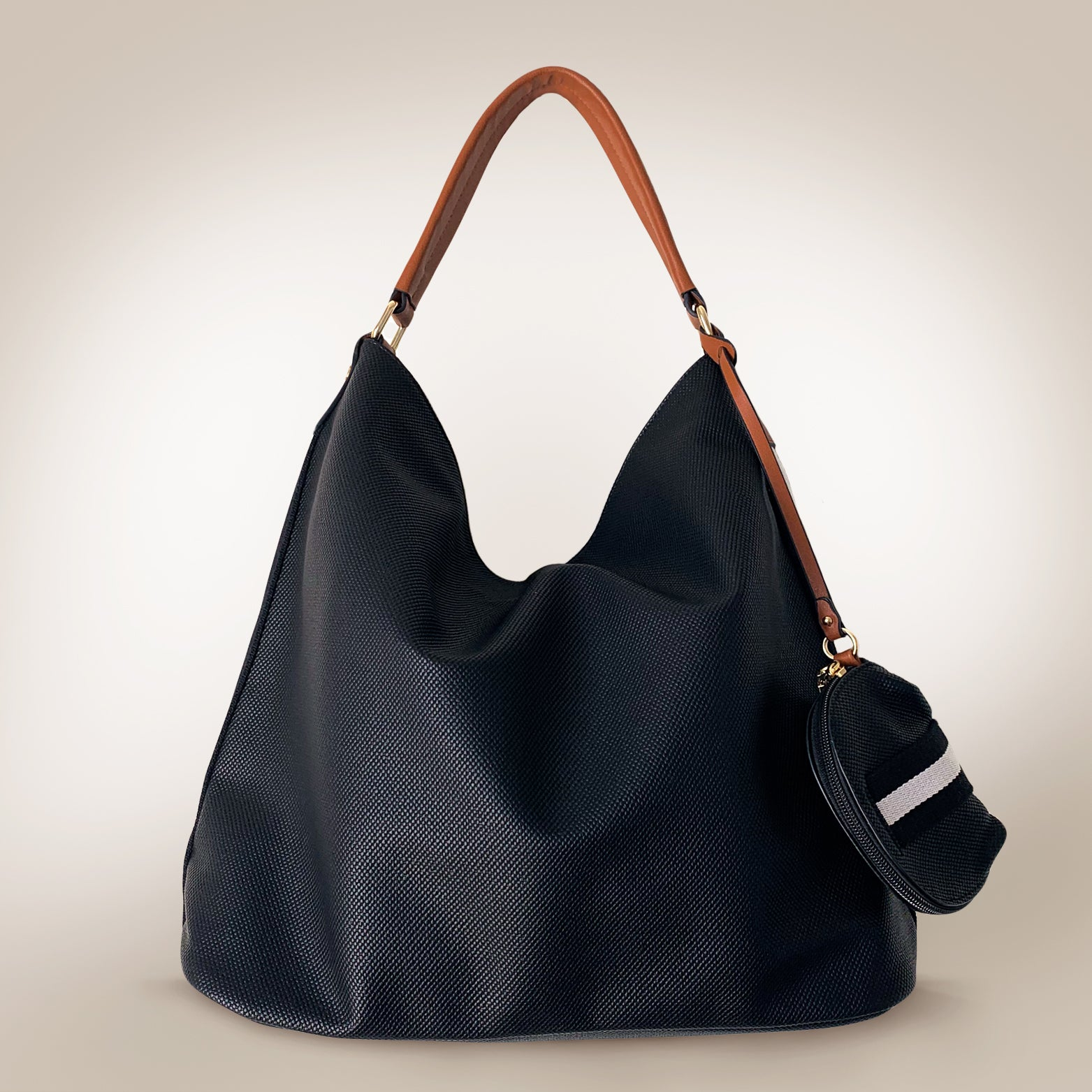 Sports Leather Large Hobo Bag - Love, Kuza