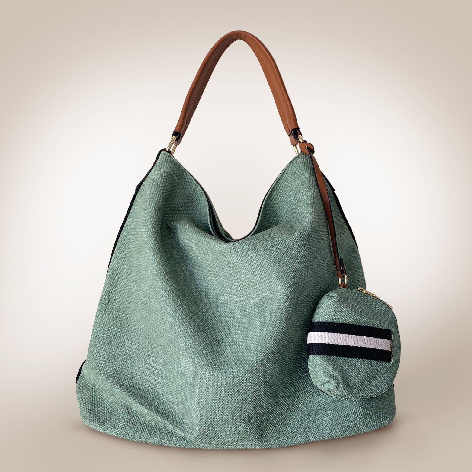 Sports Leather Large Hobo Bag