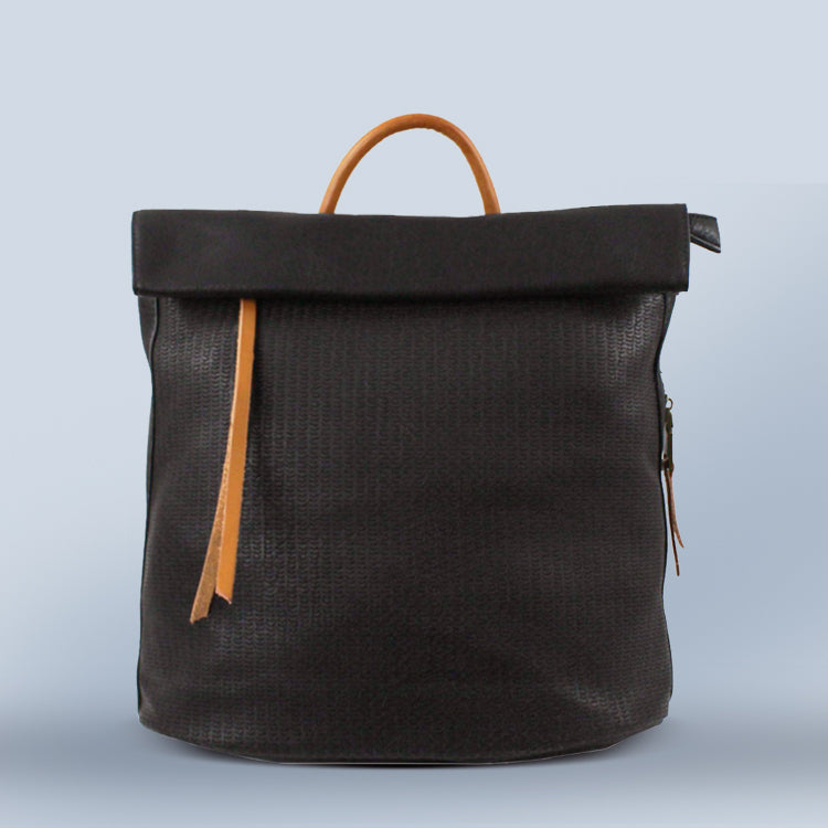 Foldover Leather Backpack