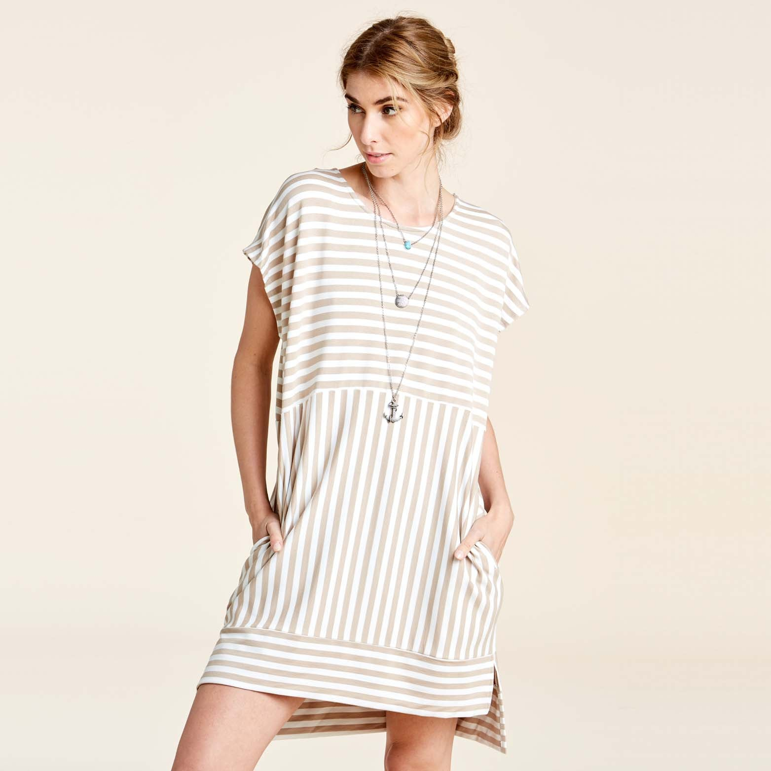 Casual Stripe Shift Dress W/Pockets