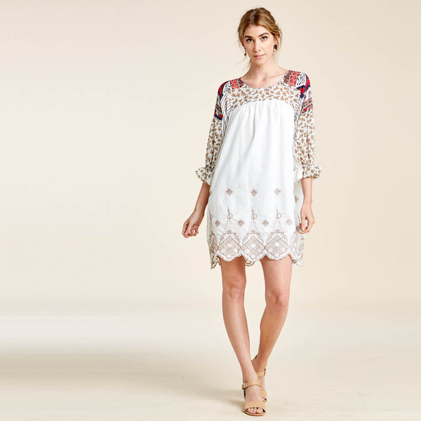 Embroidered Mix Print Dress