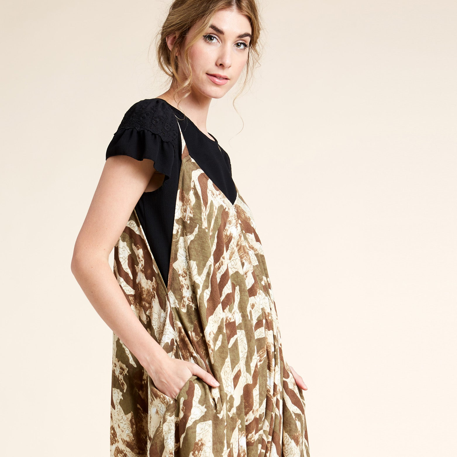 Oversized V-Neck Camo Jumpsuit