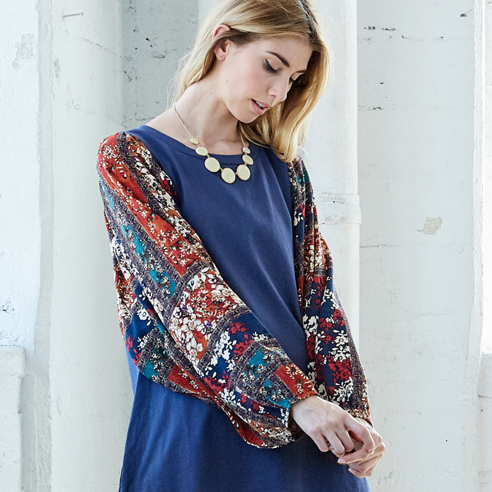 Autumn Floral Sleeve Dress