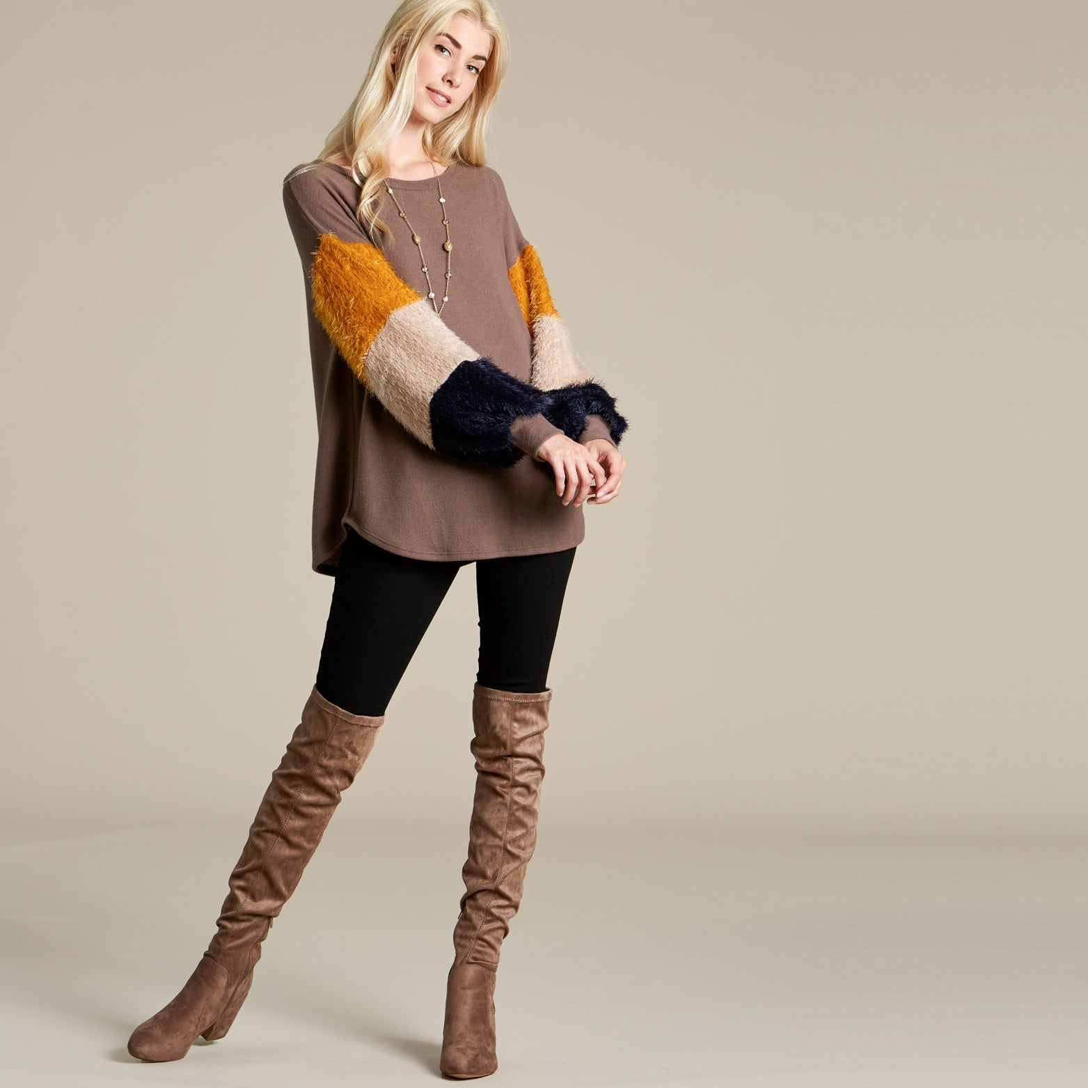 Cozy Colorblock Sweater - Love, Kuza