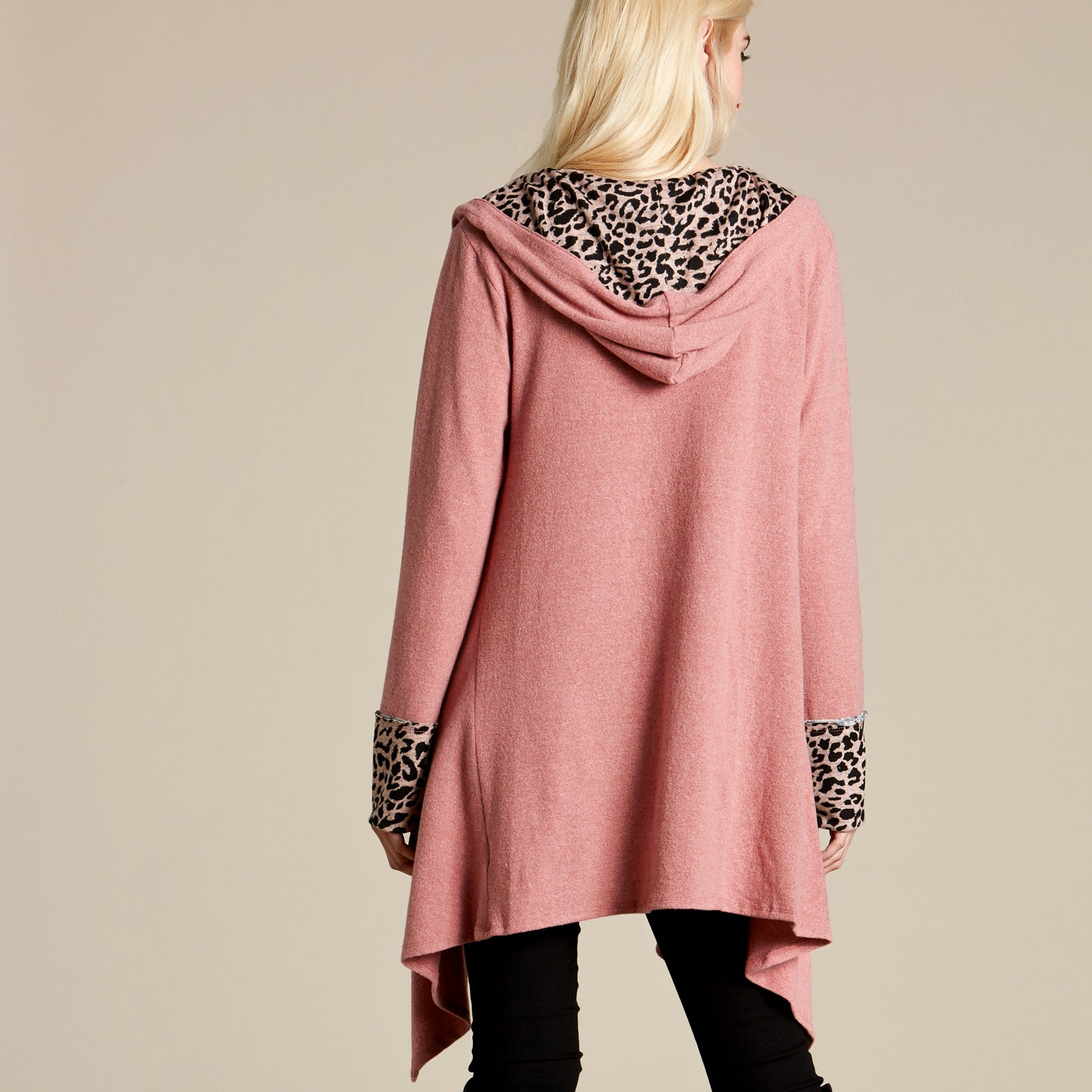 Animal Print Contrast Cardigan