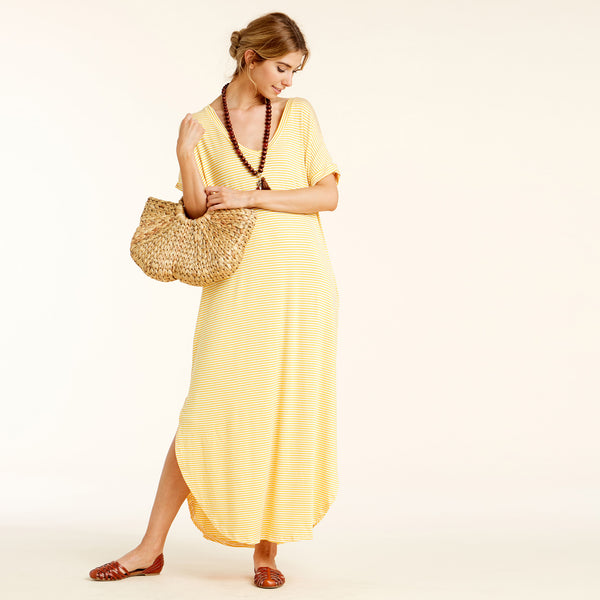 RL Yellow/Ivory Pin Striped Maxi Dress
