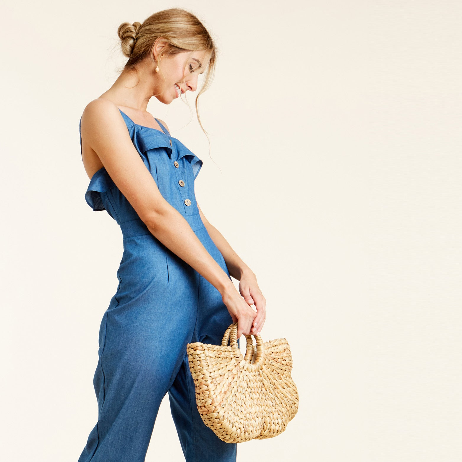 Bubble Straw Tote Basket - Love, Kuza