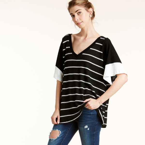 Waffle Knit Contrast Top