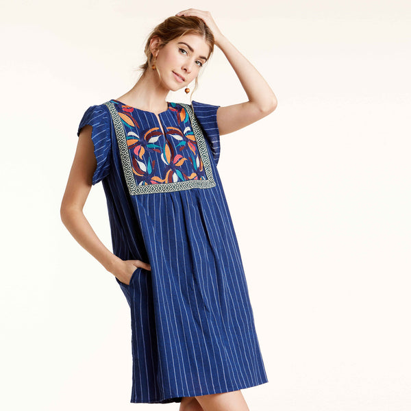 Vivid Embroidered Pocket Dress