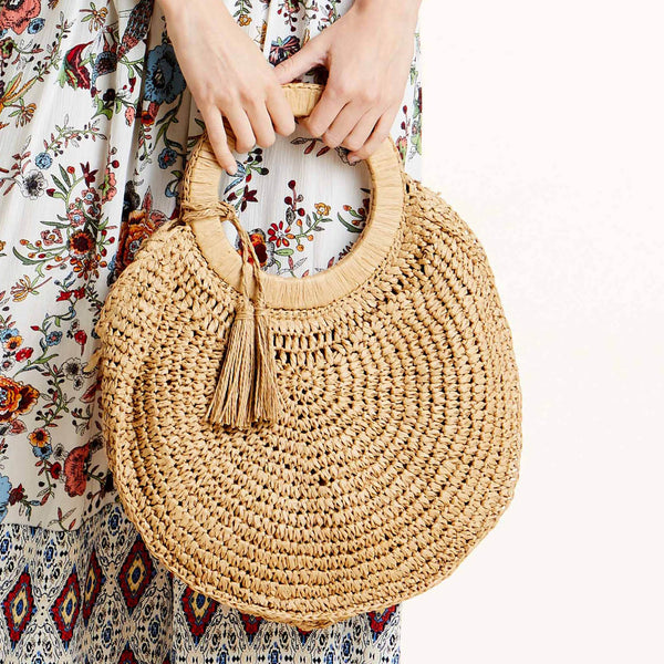 Knitted Straw Round Bag