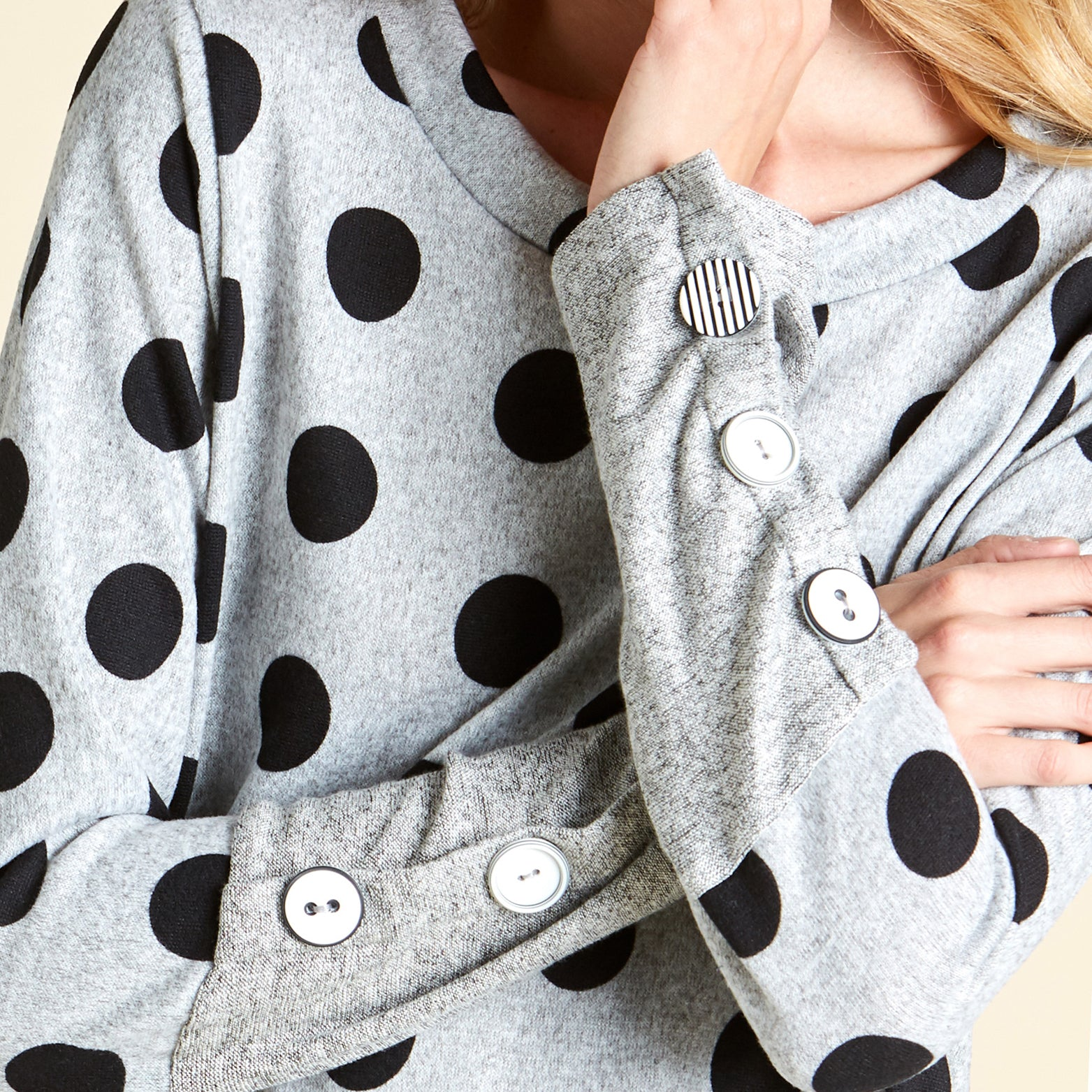 Contrast Buttons Polka Dot Sweater