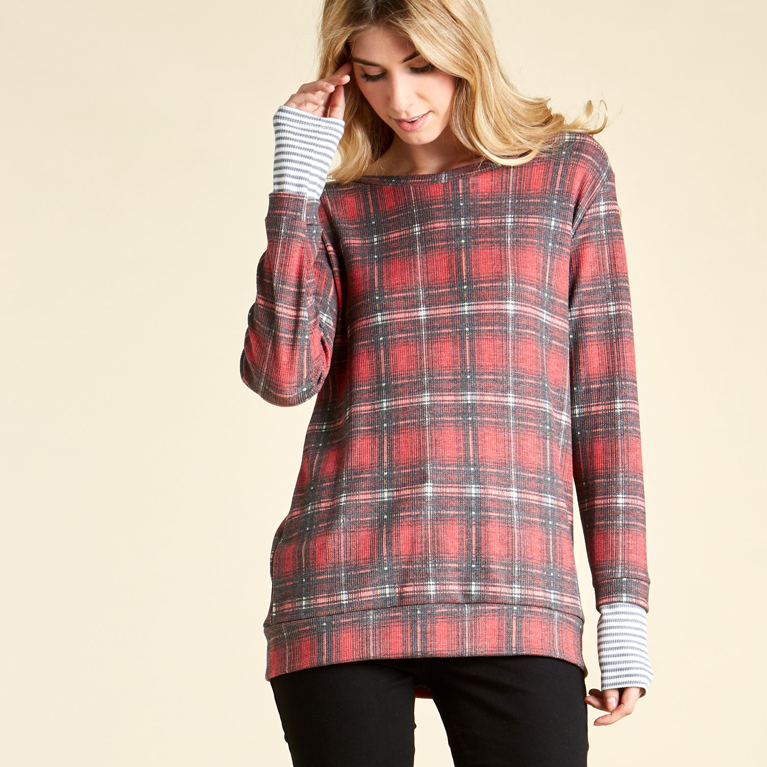 Warming Plaid Thermal With Stripe Cuff