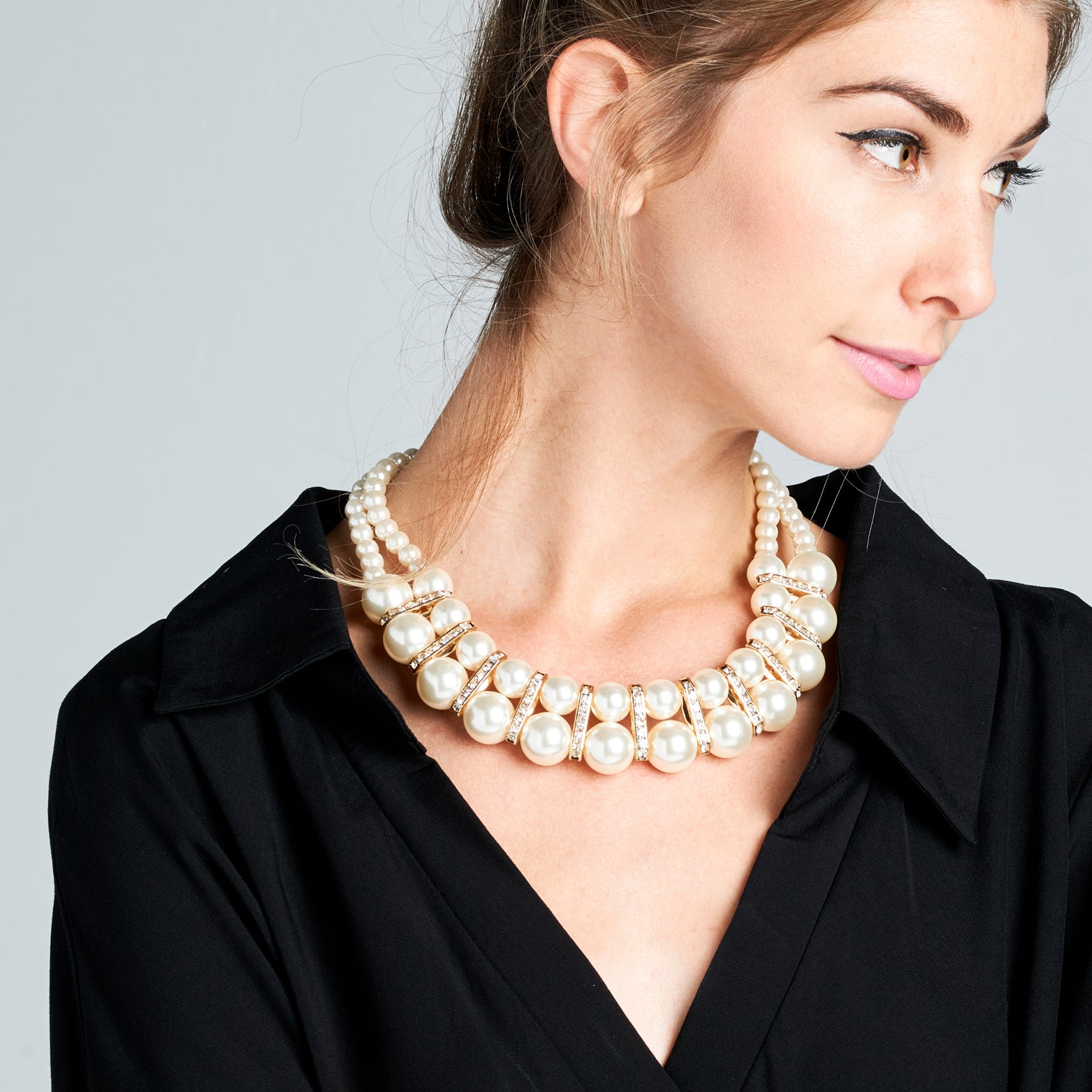Collar Pearl Bib Statement Necklace