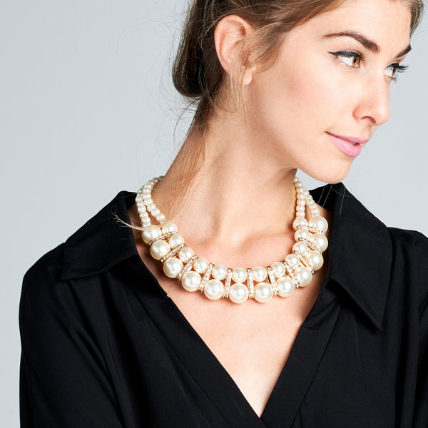 Collar Pearl Bib Statement Necklace - Love, Kuza