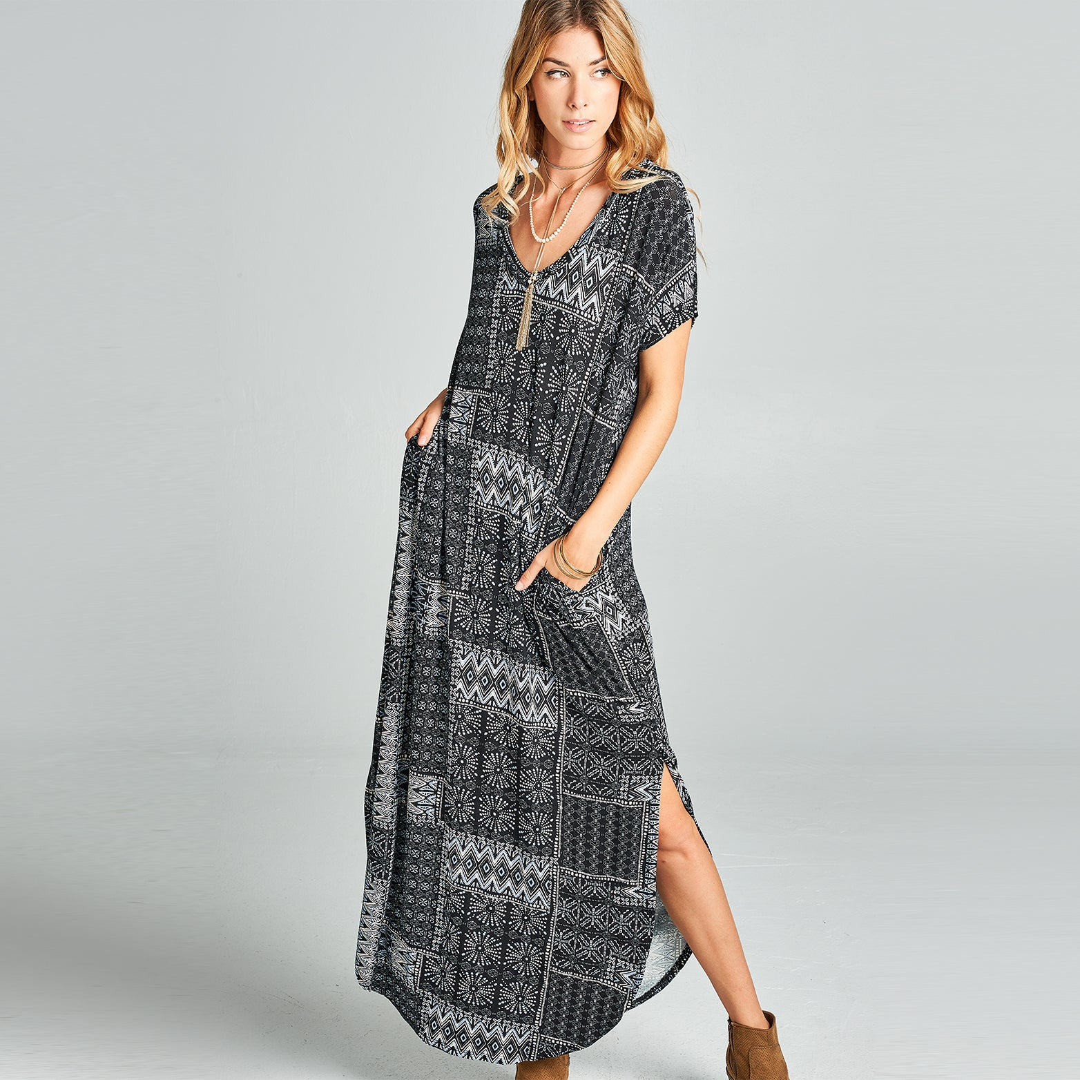 Tribal Patchwork Maxi Dress