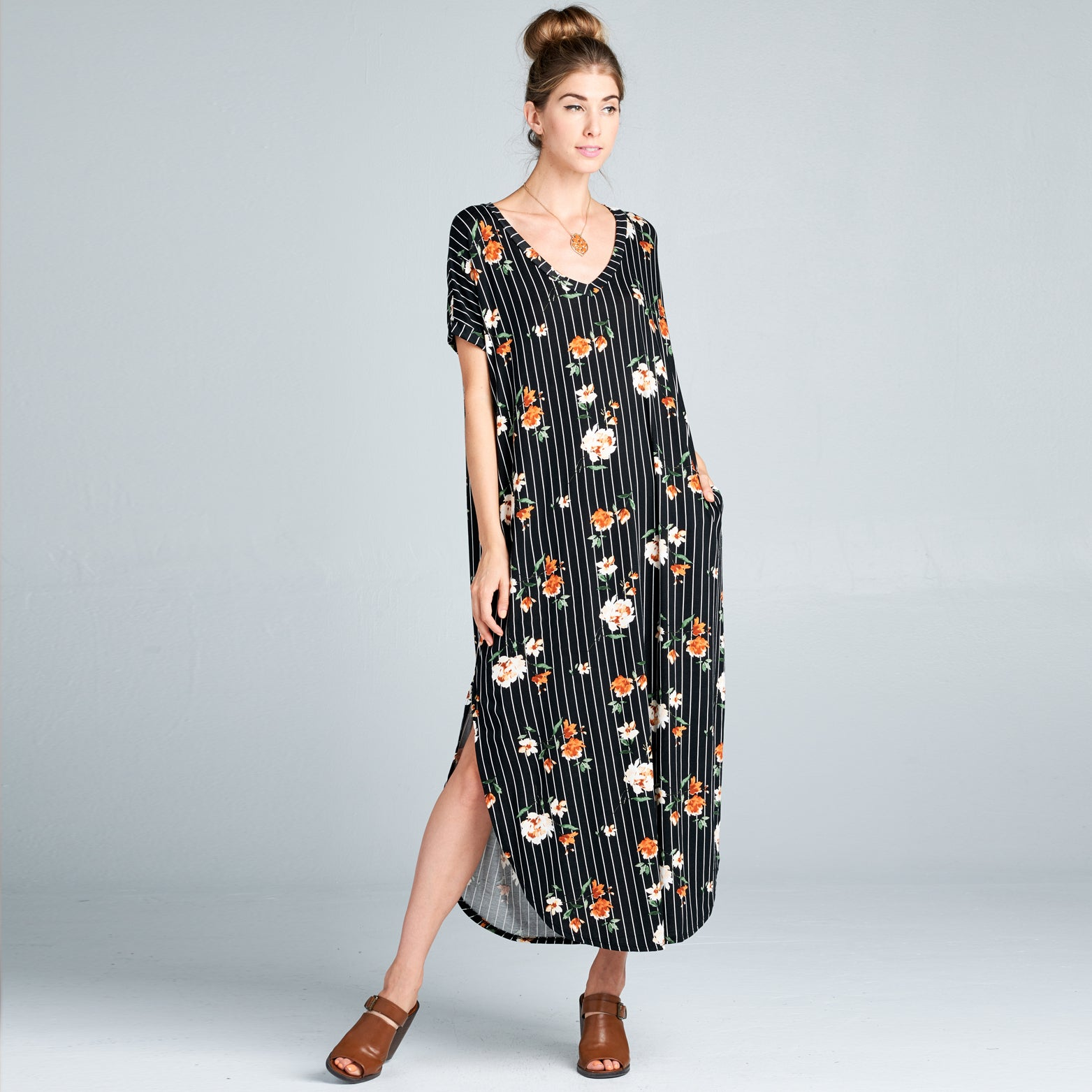RL Ivory Rust Floral Stripe Maxi Dress