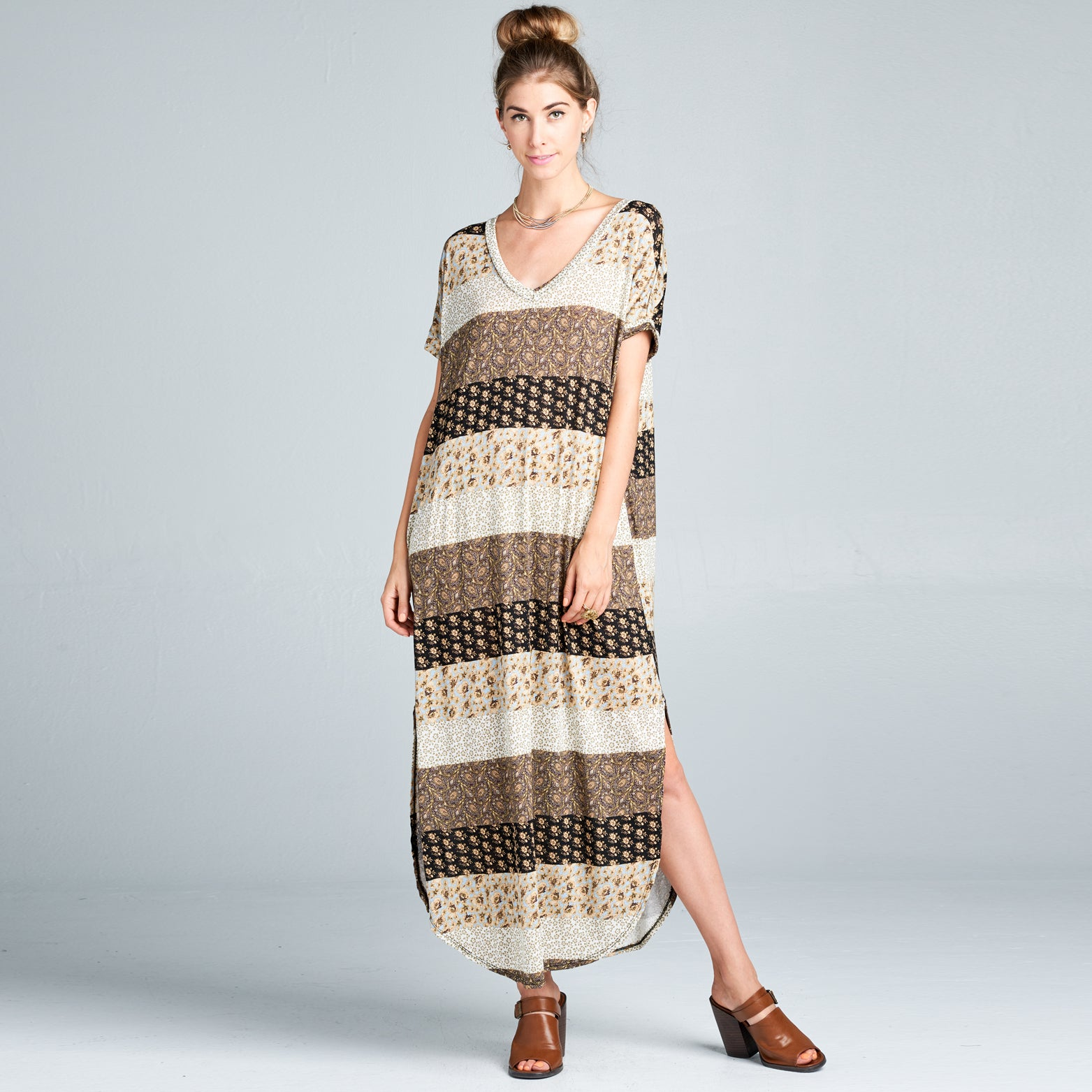 RL Brown Block Maxi Dress