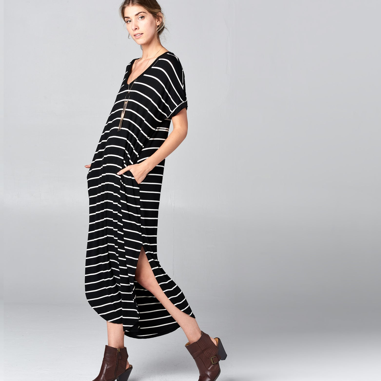 RL Black White Striped Maxi Dress