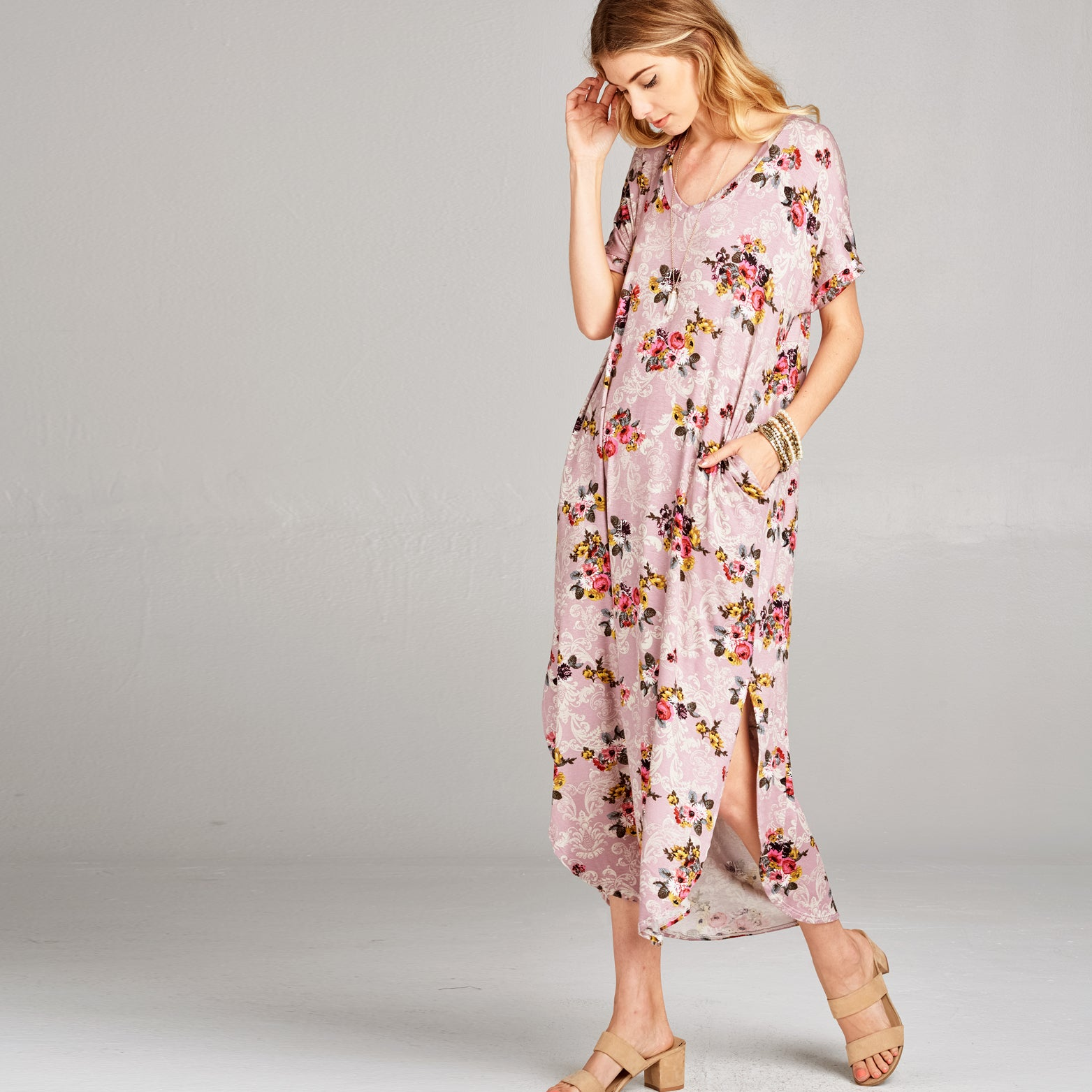 RL Damask Mauve Maxi Dress