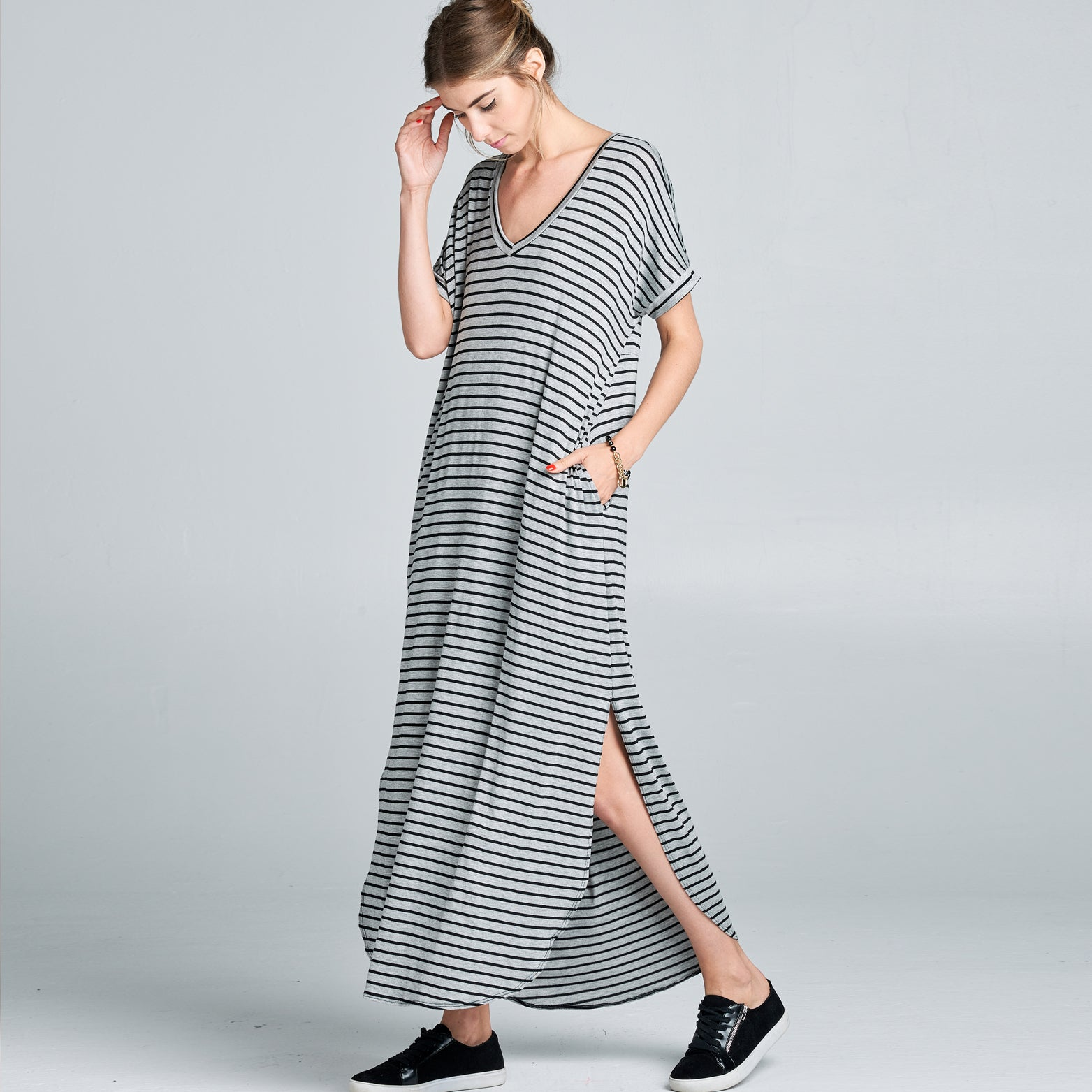RL Grey Black Striped Maxi Dress