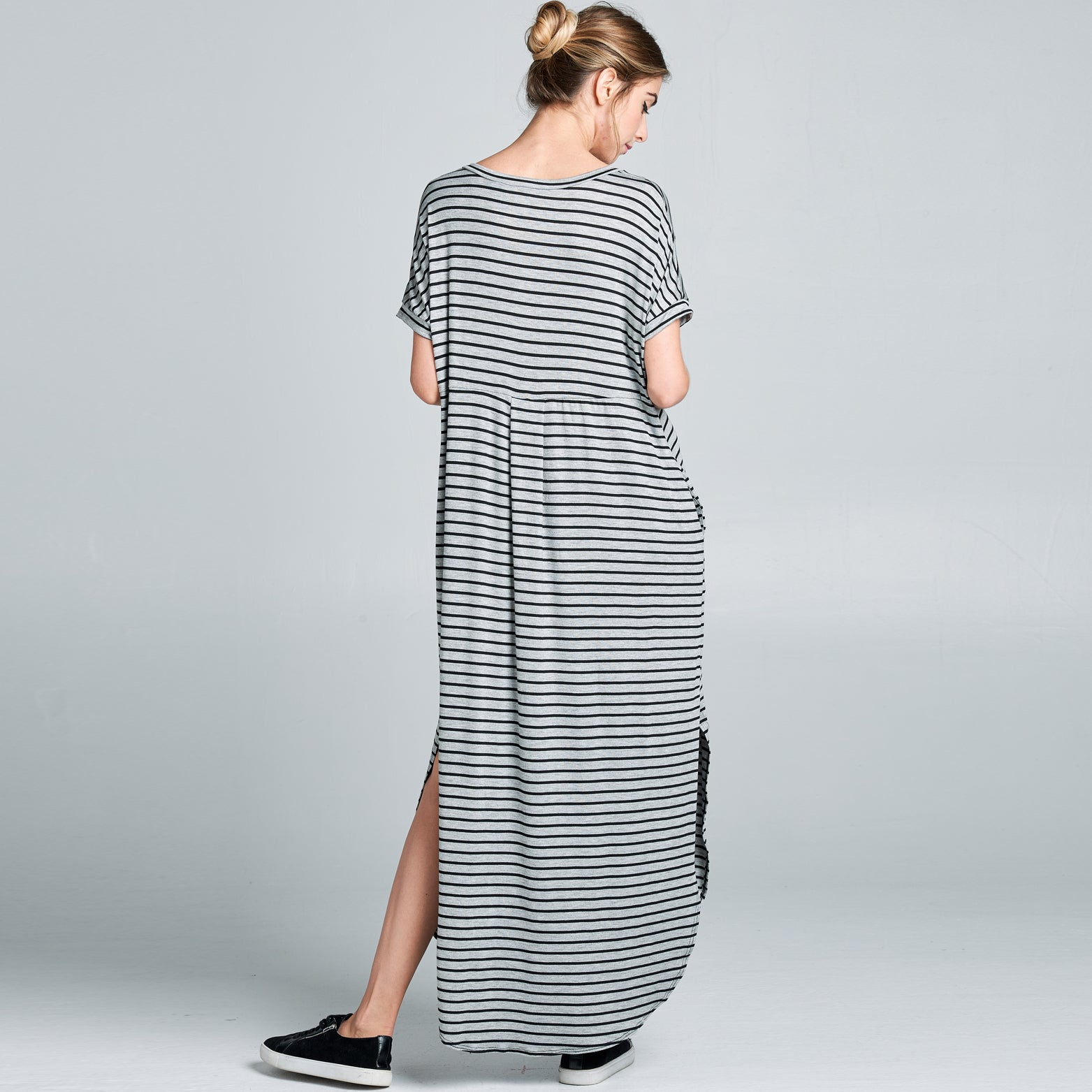 RL Grey Black Striped Maxi Dress - Love, Kuza