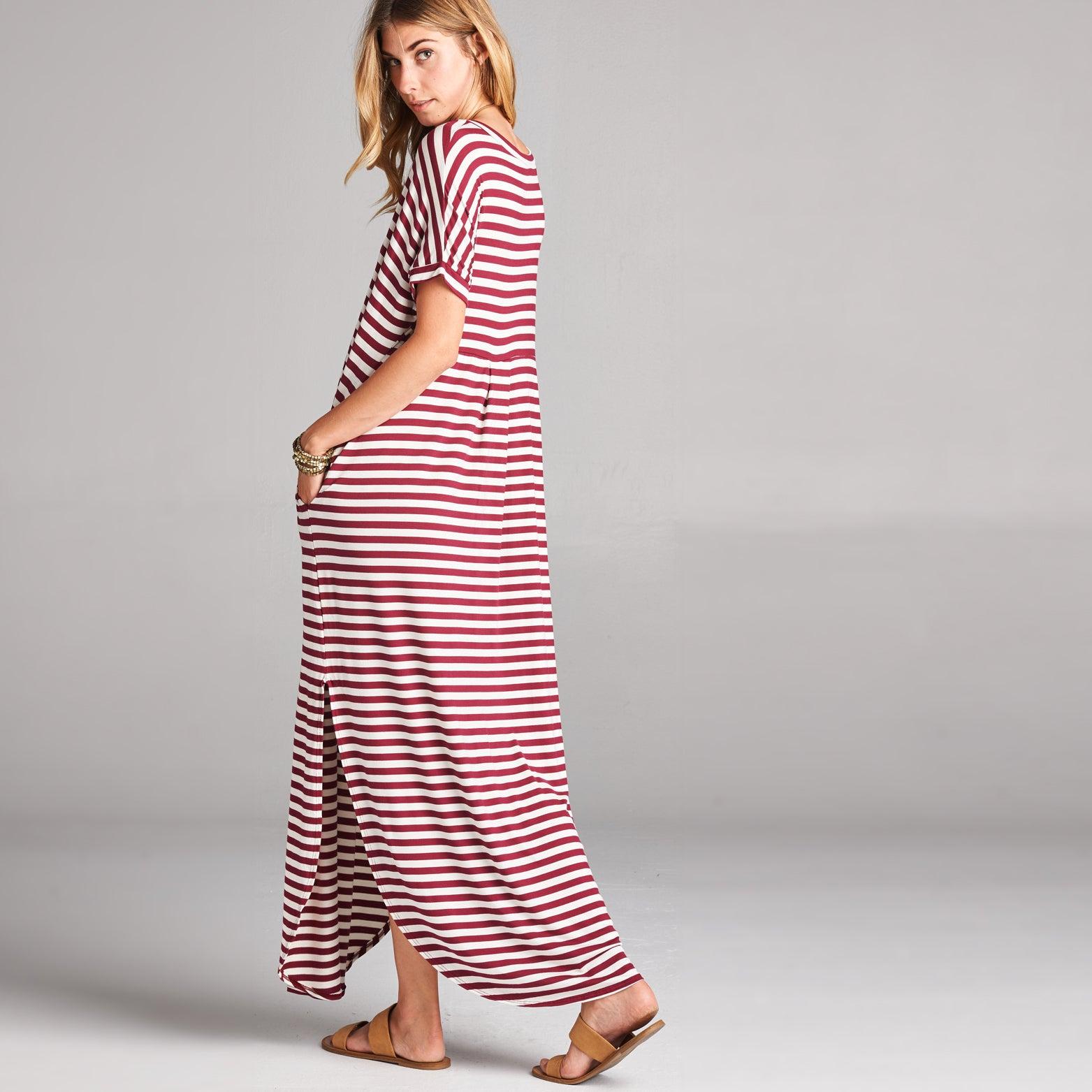 Burgundy White Striped Maxi Dress