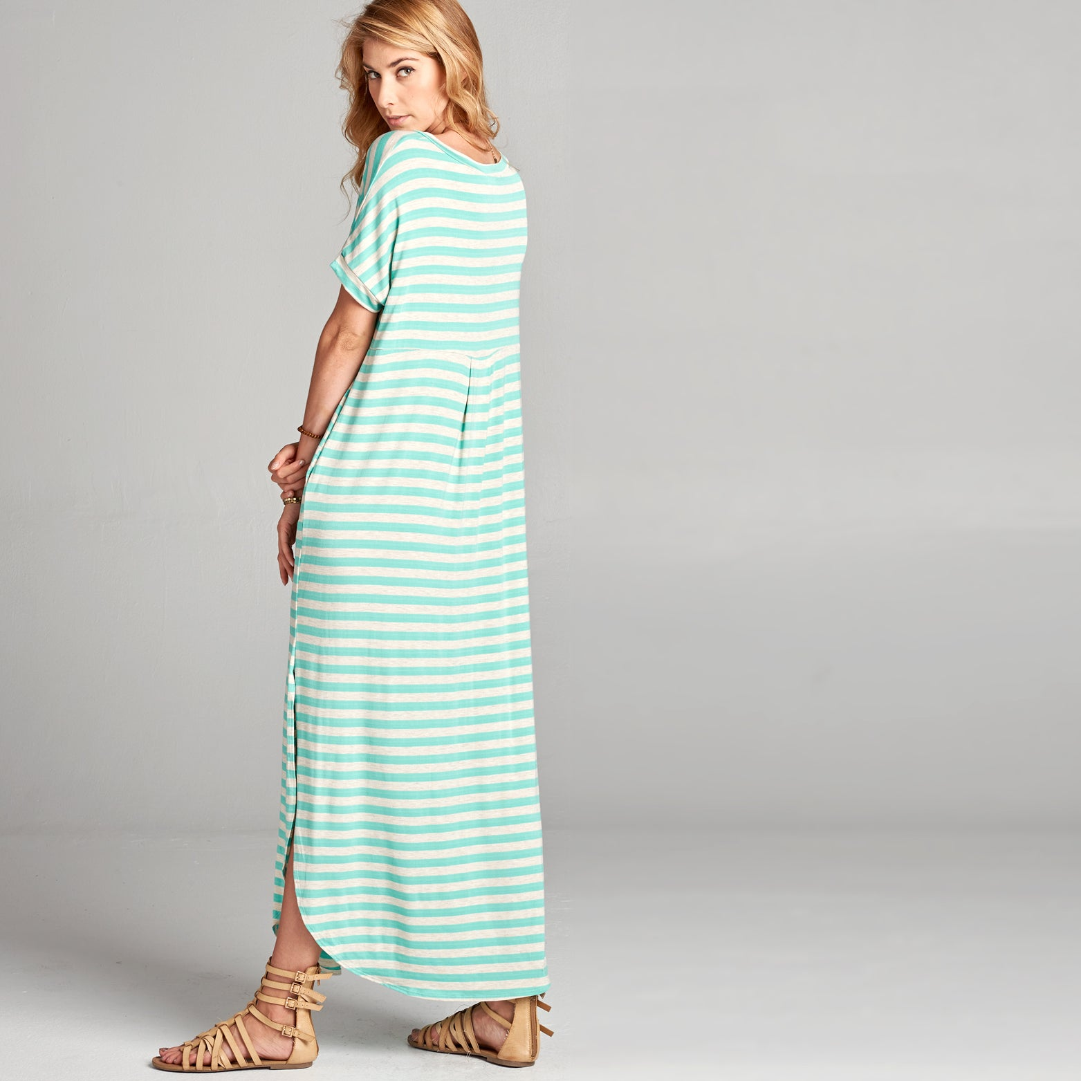 Mint Oat Striped Maxi Dress