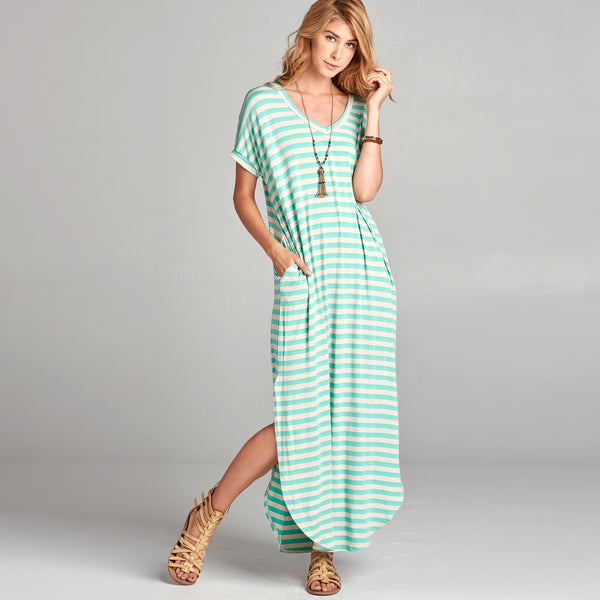 Mint Oat Striped Maxi Dress - Love, Kuza