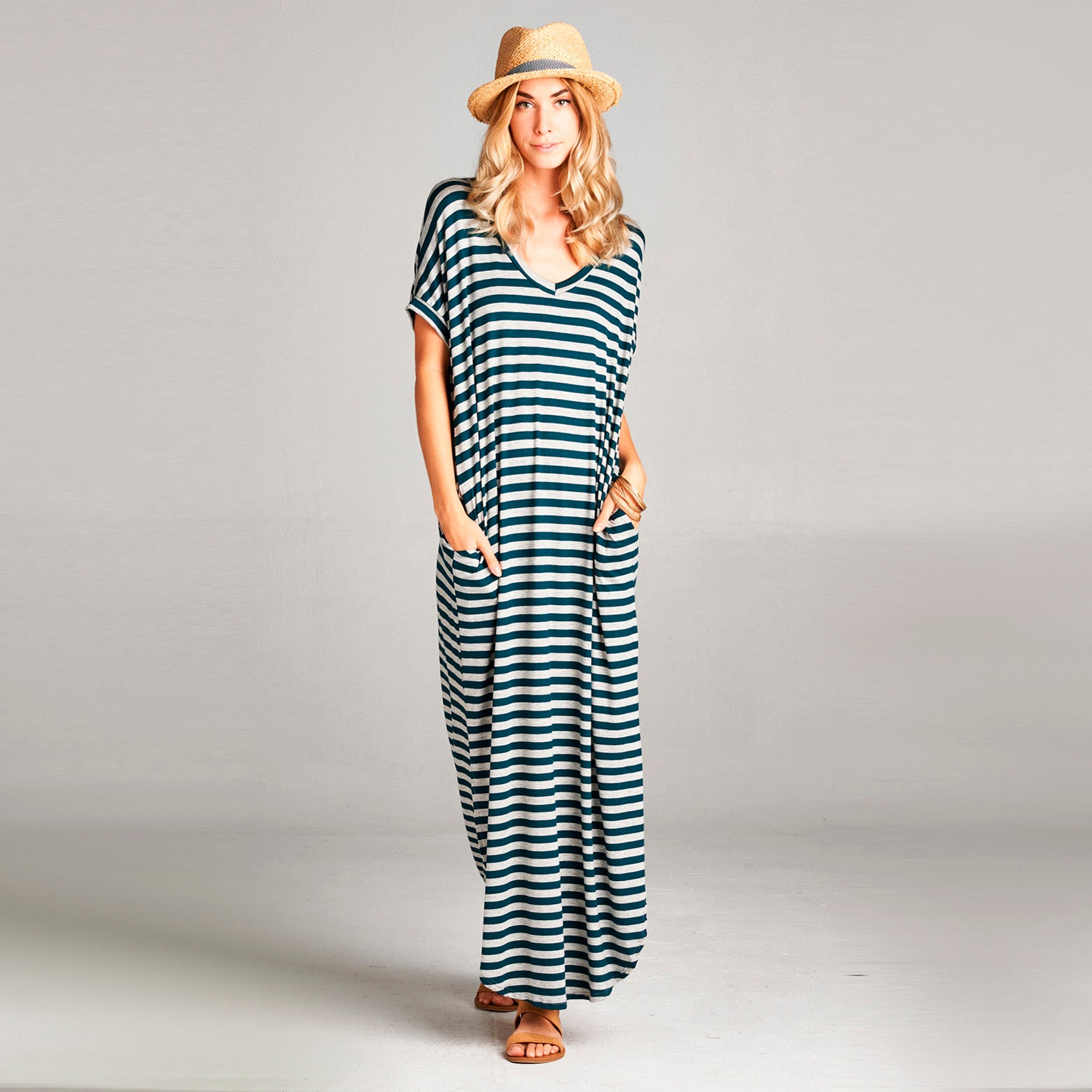 Assorted Striped Print Maxi Dress