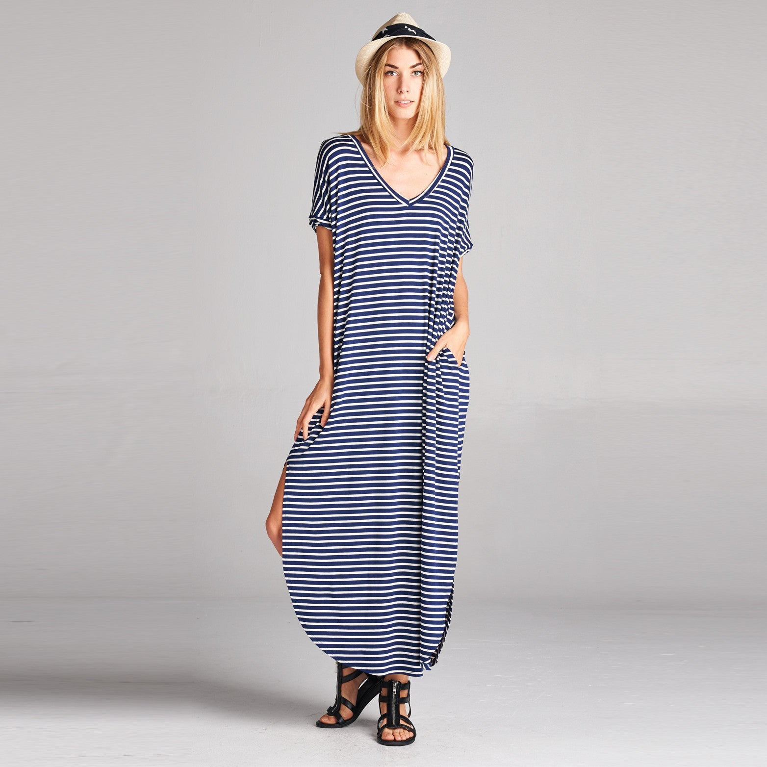 Classic Pinstripe Maxi Dress With Pockets