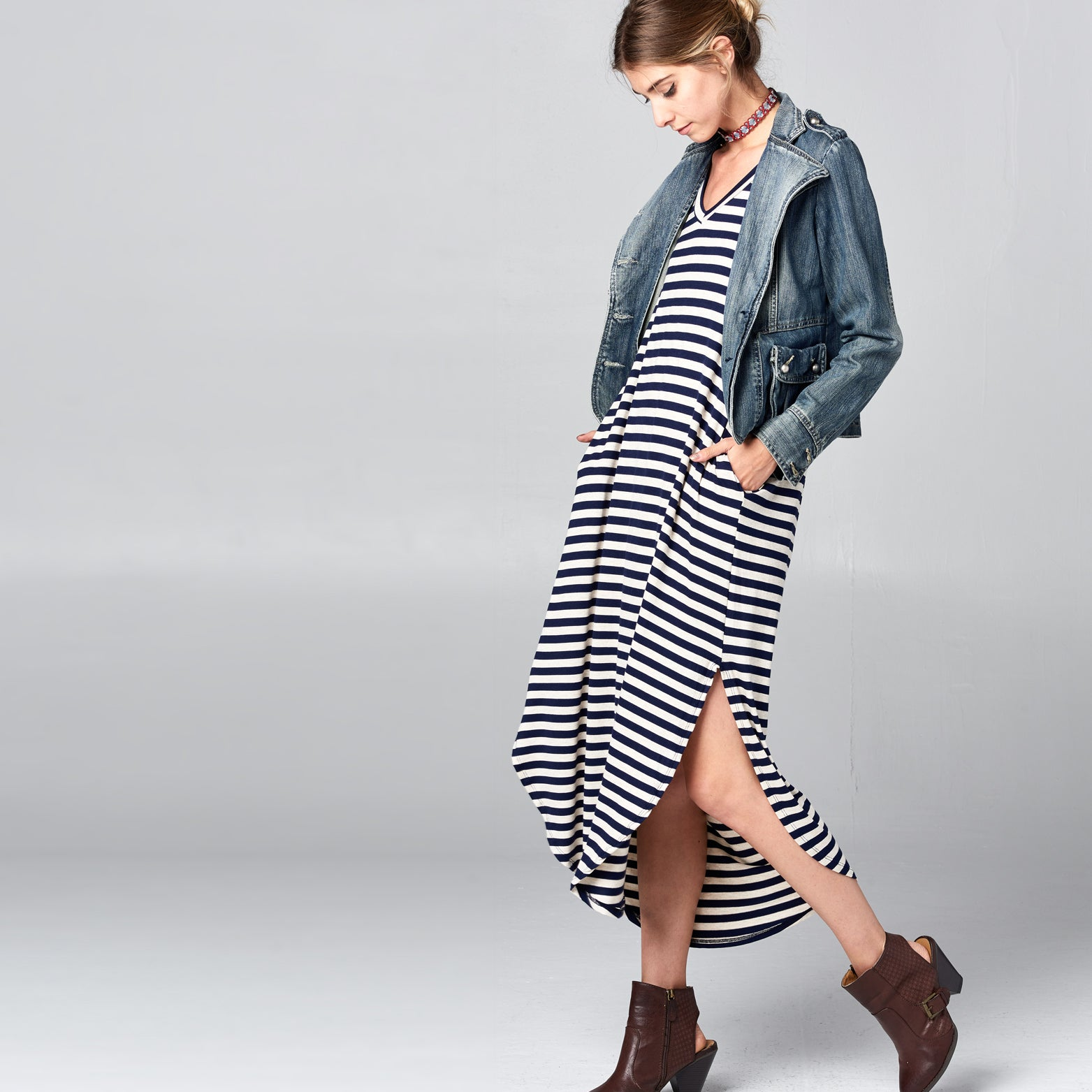 RL Navy Oat Striped Maxi Dress
