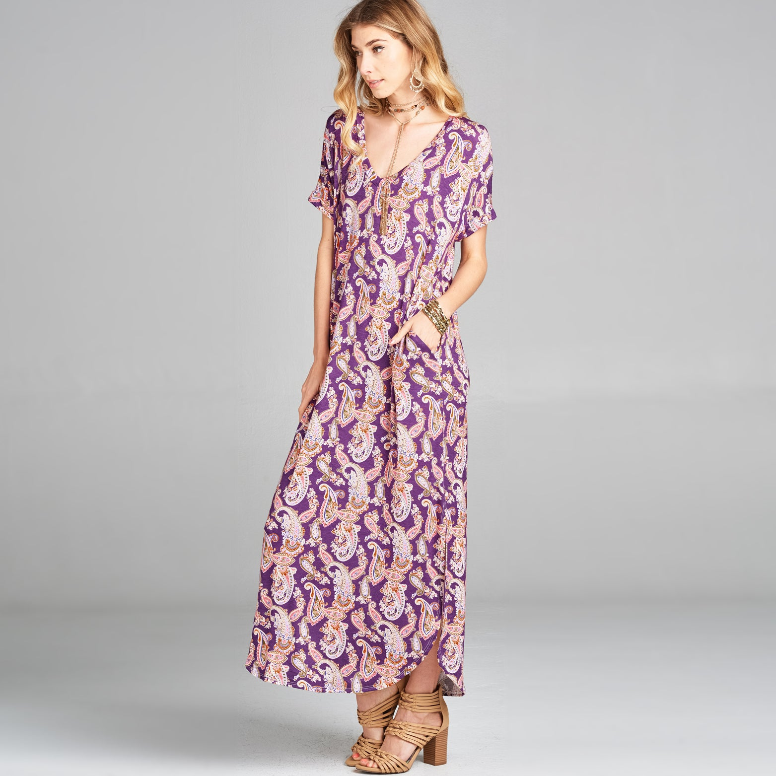 RL Purple Pink Paisley Maxi Dress