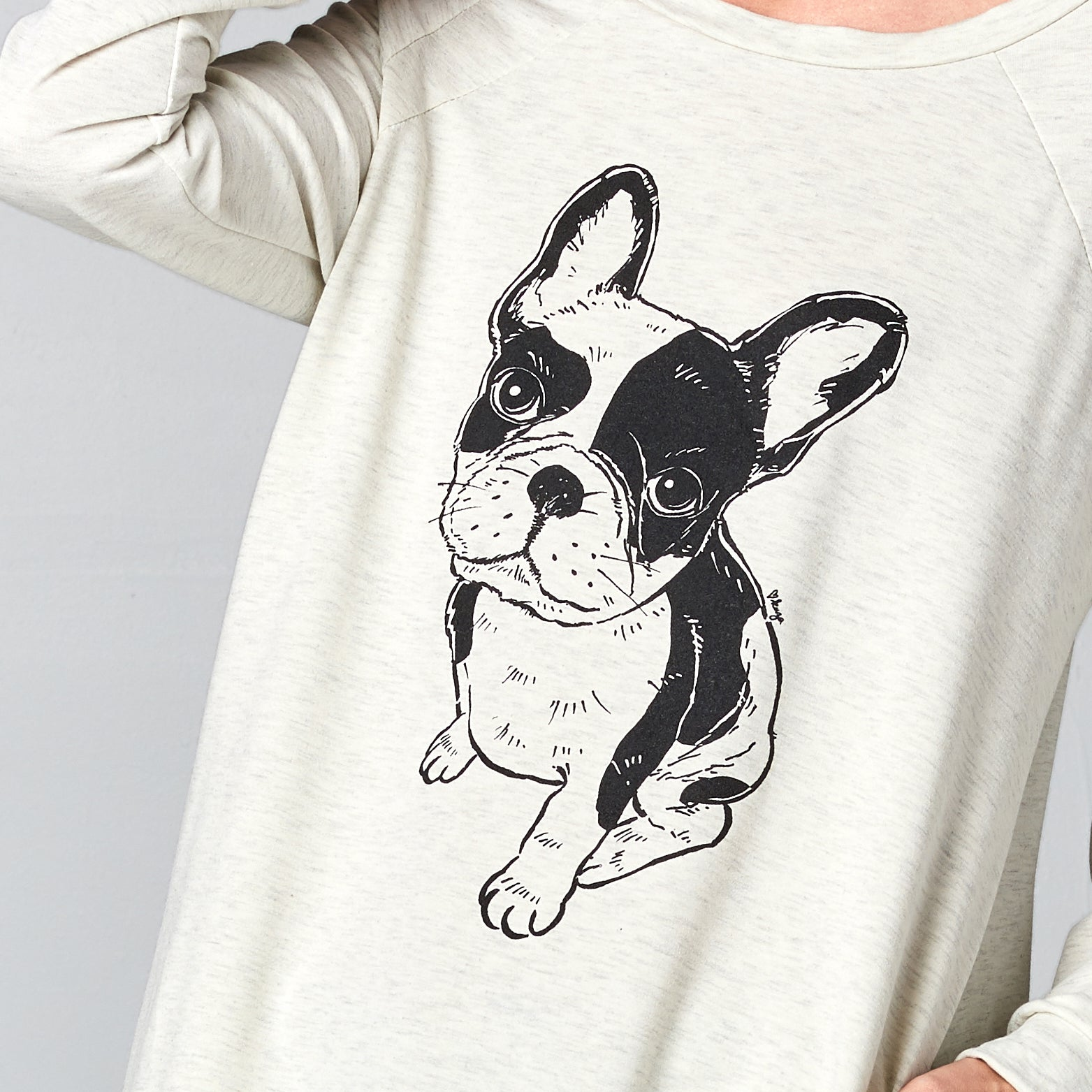 Frenchie Print Long Sweatshirt