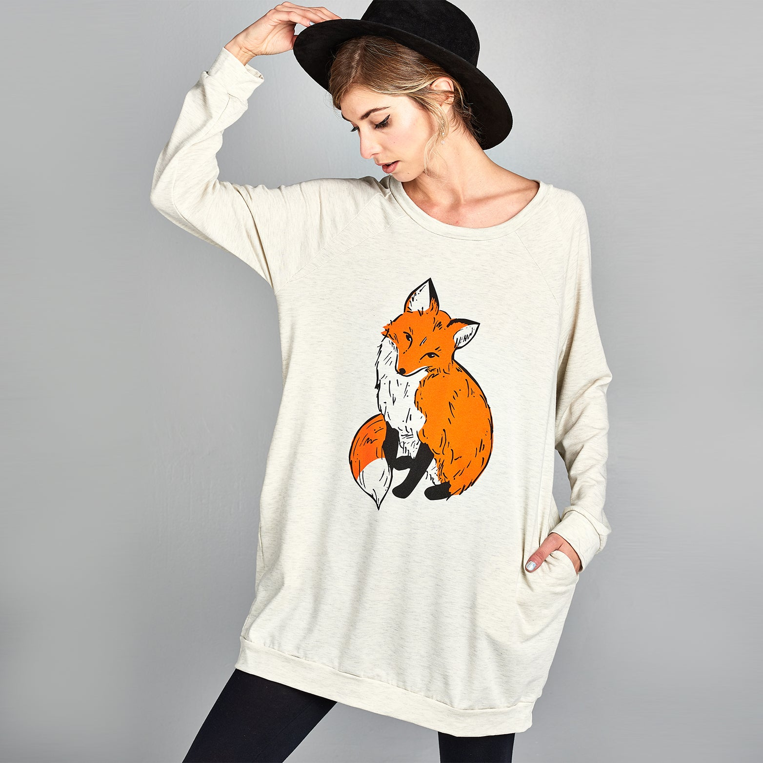 Fox Print Sweatshirt Dress