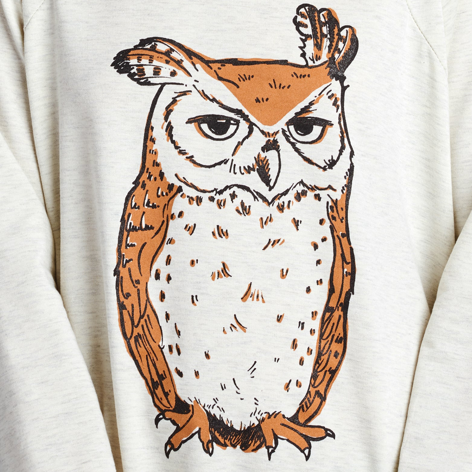 Owl Print Long Sweatshirt