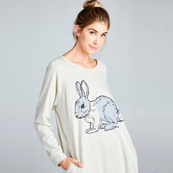 Rabbit Print Long Sweatshirt
