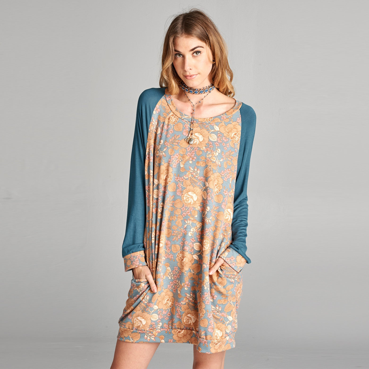 Floral Raglan Sweatshirt Dress