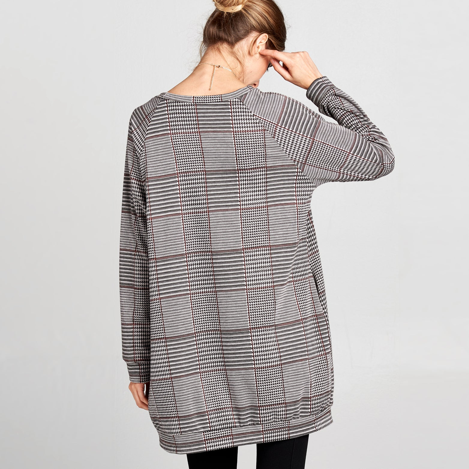 Glen Plaid Long Sweatshirt