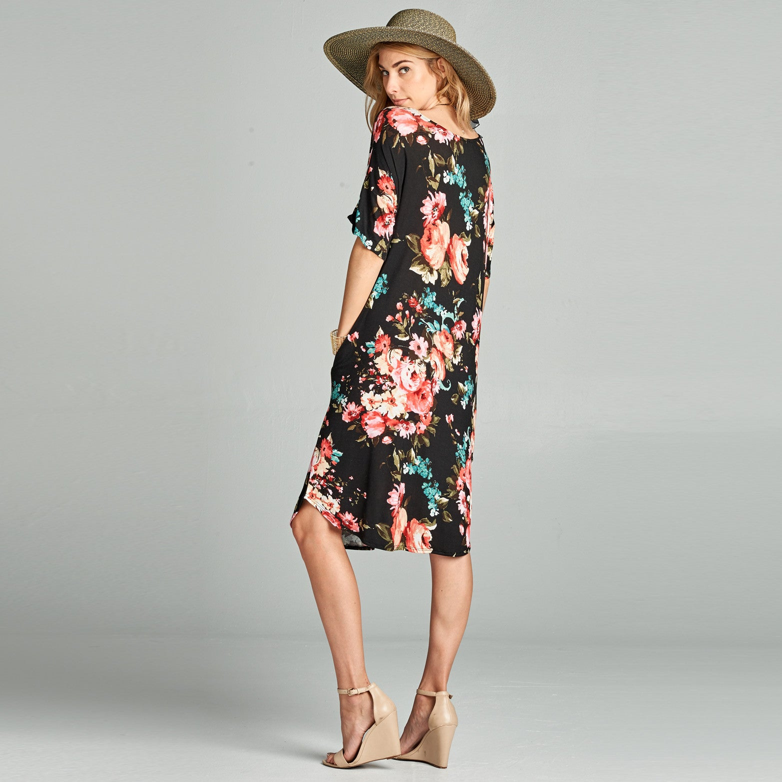 Relaxed Fit Floral Dress with Pockets