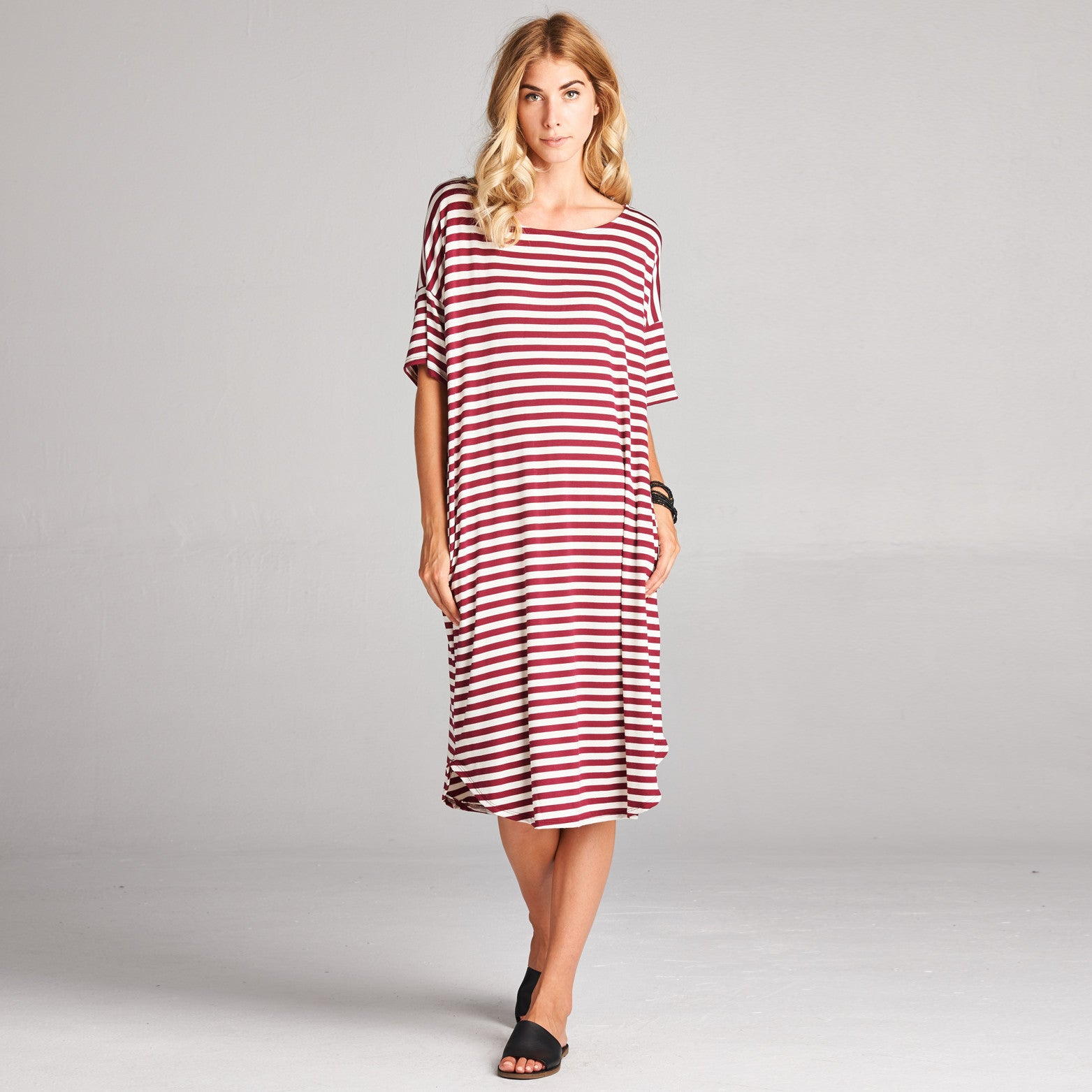 Relaxed Fit Striped Dress with Pockets