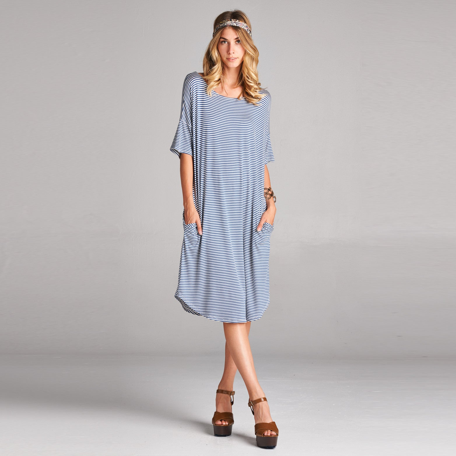 Relaxed Fit Striped Dress with Pockets - Love, Kuza