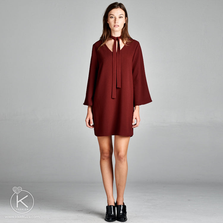 Tie-Neck Shift Dress - Love, Kuza