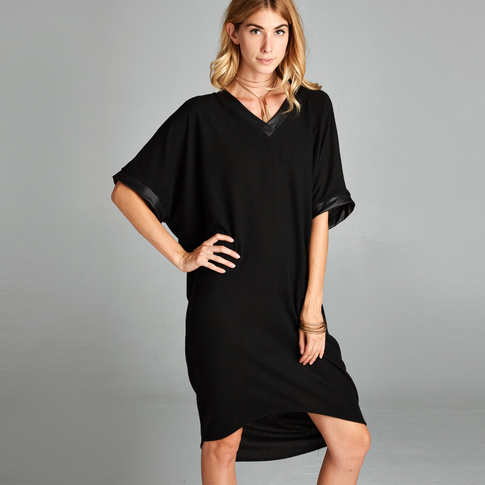 Hacci V-Neck Dress