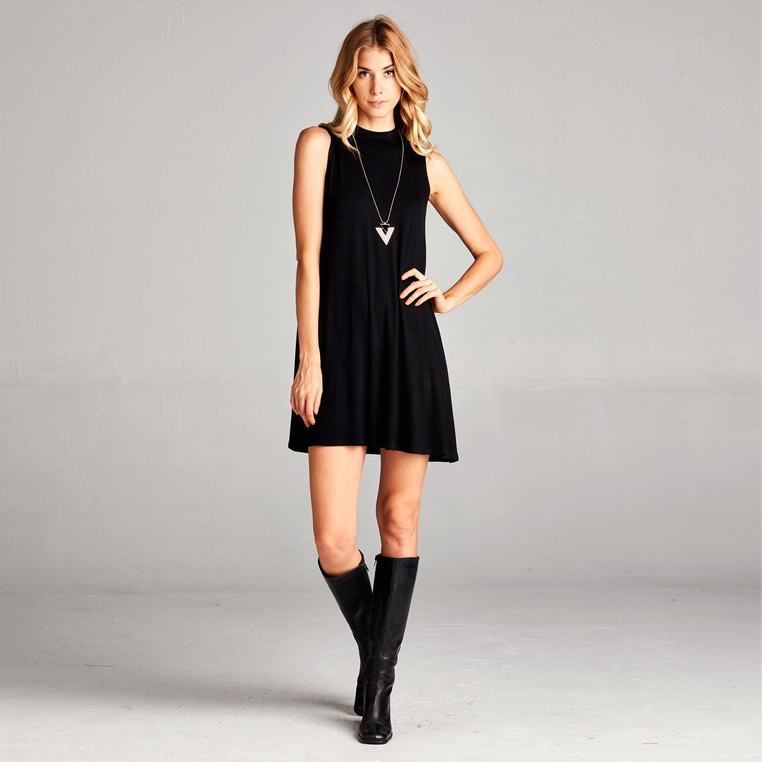 Mock Neck Swing Dress
