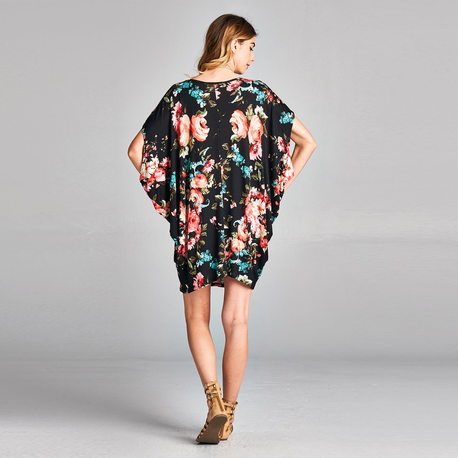 Rose Bouquet Dolman Sleeve Dress
