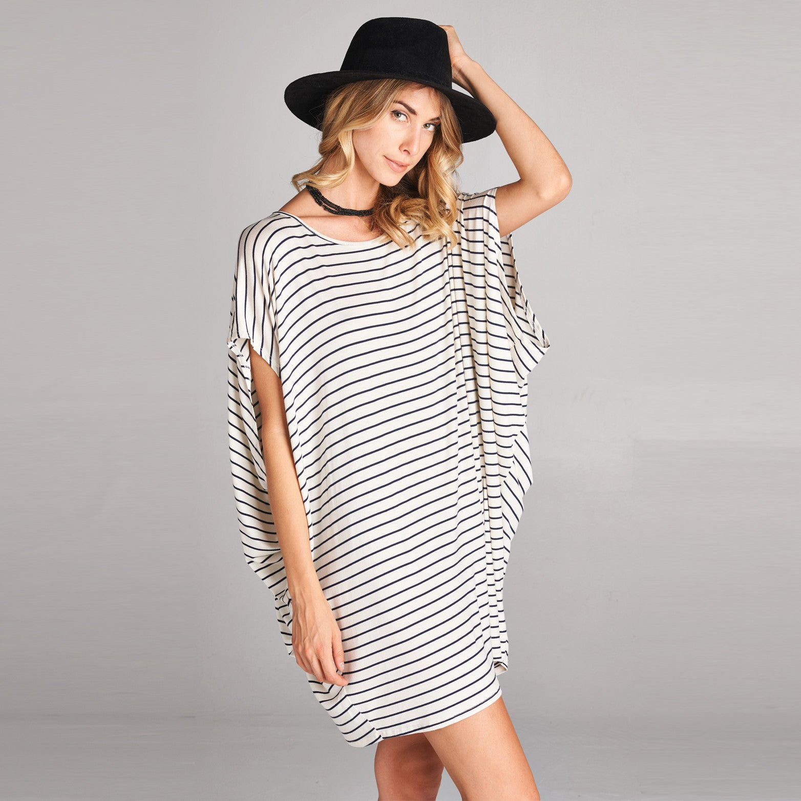 Oversize Stripe Cap Sleeve Dress - Love, Kuza