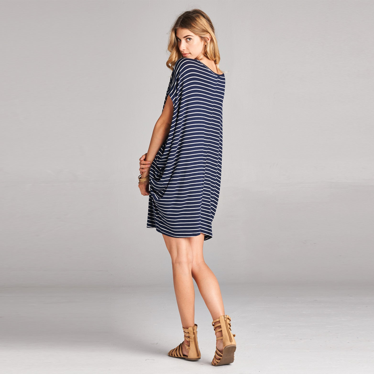 Oversize Stripe Cap Sleeve Dress