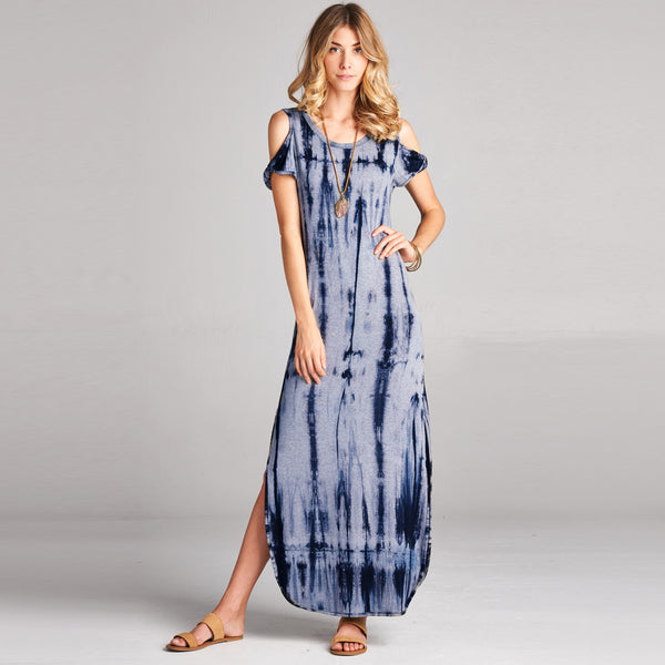 Cold Shoulder Tie Dye Maxi Dress