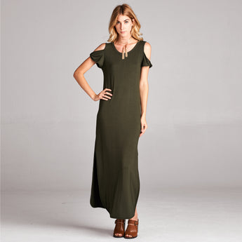 Cold Shoulder Solid Maxi Dress